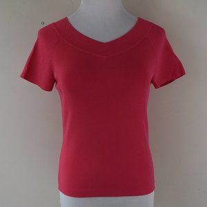 Talbots Size Small V Neck & Back Pink Top